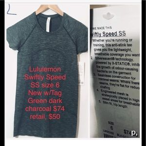 Swiftly Speed SS Shirt Size 6 new w tags greengray